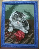 Stickbild Katze Gobelin