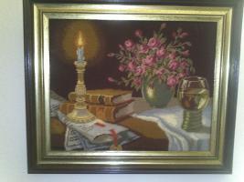 Stilleben Bild:  '' Bücher bei Kerzenlicht ''-im Gemälderahmen