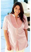Streifenbluse mit Pailletten rosé-creme - Your Life Your Fashion - Gr. 52 - Neu