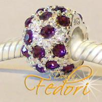 Style Bead Aubergine Snow 925 Sterling Silber, Zirkonia