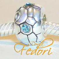 Style Bead Blue Ball 925 Sterling Silber, Zirkonia