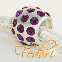 Style Bead Crystal Aubergine Flame 925 Sterling Silber, Zirkonia