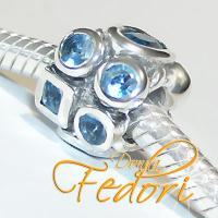 Style Bead Crystal Blue Fire 925 Sterling Silber, Zirkonia