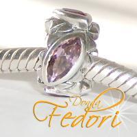Style Bead Crystal Dark Rose 925 Silber, Zirkonia