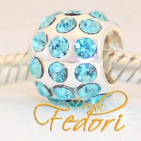 Style Bead Crystal Light blue Flame 925 Sterling Silber, Zirkonia