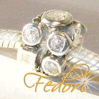 Style Bead Crystal black Fire 925 Sterling Silber, Zirkonia