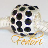Style Bead Crystal black Flame 925 Sterling Silber, Zirkonia