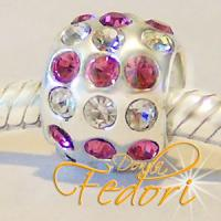 Style Bead Crystal pink & white Flame 925 Sterling Silber, Zirkonia