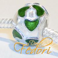 Style Bead Grüne Herzen 925 Sterling Silber, Emaille