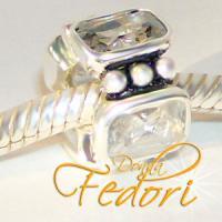 Style Bead Kristalla eckig 925 Sterling Silber, Zirkonia