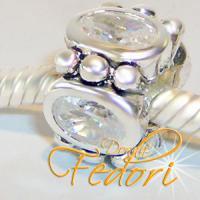 Style Bead Kristalla oval 925 Sterling Silber, Zirkonia