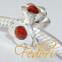 Style Bead Tangerine Flower 925 Sterling Silber, Zirkonia
