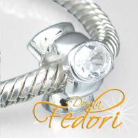 Style Bead Triple White 925 Sterling Silber, Zirkonia