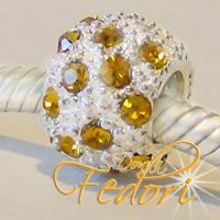 Style Bead Yellow Snow 925 Sterling Silber, Zirkonia
