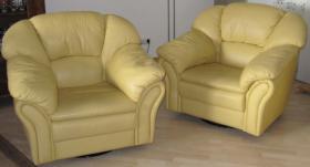 Foto 2 Super gut erhaltene Couchgarnitur aus echtem Leder, italienisches Design