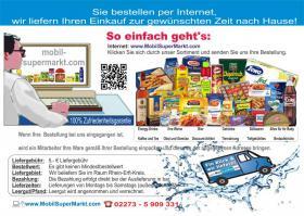 Supermarkt  mit Lieferservice für den Raum RHEIN-ERFT-KREIS!