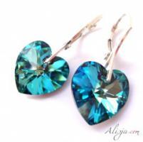 Swarovski Ohrhänger heart pendant bermuda blue 14