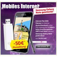 TOP-Angebot bei DSLundMobilfunk.de: Samsung Galaxy Note für 35 € mtl. und kostenlosem Surfstick