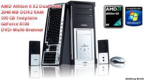 TOP Multimedia PC AMD Athlon II X2 240, AMD Athlon 2 X2 Dual-Core, 2048 MB DDR2, 500 GB, 20x DVD Multi-Brenner, NVIDIA GeForce 8100 uvm. ab nur 0, - Euro!
