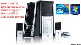 TOP Multimedia PC Intel Core i5-750, 4096 MB DDR2, 500 GB, 20x DVD Multi-Brenner, NVIDIA GeForce GT220 uvm. ab nur 0, - Euro!