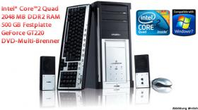 TOP Multimedia PC Intel Core2 Quad, 2048 MB DDR2, 500 GB, 20x DVD Multi-Brenner, NVIDIA GeForce GT220 uvm. ab nur 0, - Euro!