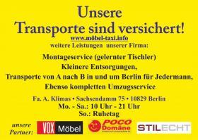 Foto 3 TRANSPORTE BERLIN MÖBEL TAXI  SCHNELL-SAUBER-GÜNSTIG