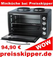 TRISTAR Elektrischer Ofen mit zwei Herdplatten OV-1422 Mini Küche