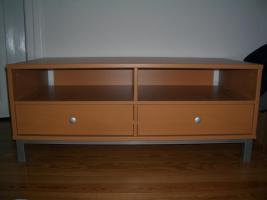 TV-Tisch aus Buche 125x50x60 mit 2 Schubladen + Fächer, wie neu