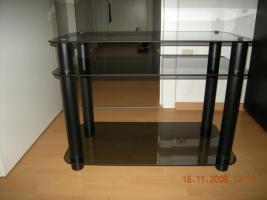 TV Tisch schwarz mit getöntem Glas