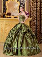 Tafft Sissi Kleid Moos Grünes Weites Abendkleid Ballkleid Brautkleid