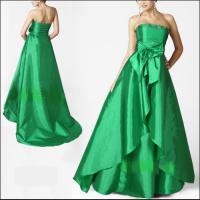 Taft Abendkleid in grün mit Schleppe Gr 44 NEU