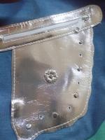 Foto 2 Tasche JEANS mit aktueller Metallapplikation & Riemen in Leder Optik NEU & UNBENUTZT