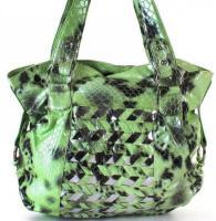 Tasche in Kroko-Look grün Damentasche Schultertasche