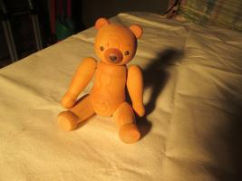 Foto 3 Teddy Natur ca. 18,5cm Teddybär Holzfigur Erzgebirge Holzbär KWO nicht bespielt