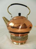Foto 2 Teekanne mit Stövchen aus Messing, schön verziert