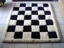 Teppich Alpakafellteppich Schachmuster 210 x 190 cm