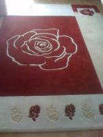 Teppich Rose in Rot/beige