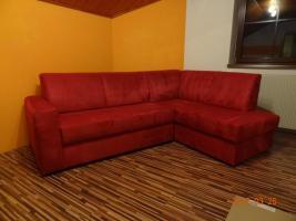 Textil-Eck-Couch Rot 150x225 mit Bettfunktion und Stauraum