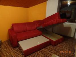 Foto 2 Textil-Eck-Couch Rot 150x225 mit Bettfunktion und Stauraum