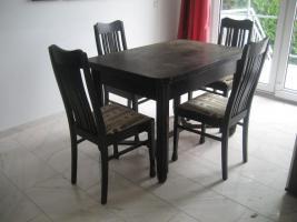 Foto 2 Tisch mit 4 Stühlen, antik um 1900, Korkeiche