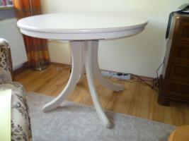 Tisch rund  Eiche weiß lackiert Durchm. 95 cm