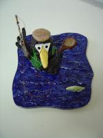 Foto 2 Tonfigur Keramikfigur Rabe Fliegenfischer Angler Gartendeko Geschenk