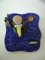 Foto 6 Tonfigur Keramikfigur Rabe Fliegenfischer Angler Gartendeko Geschenk
