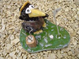 Tonfigur Keramikfigur Rabe Golfer Gartendeko Geschenk