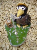 Foto 3 Tonfigur Keramikfigur Rabe Golfer Gartendeko Geschenk