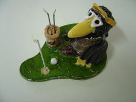 Foto 4 Tonfigur Keramikfigur Rabe Golfer Gartendeko Geschenk
