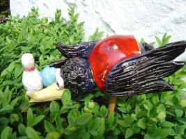 Foto 2 Tonfigur Keramikfigur Rabe Kegler Bowler Gartendeko Geschenk