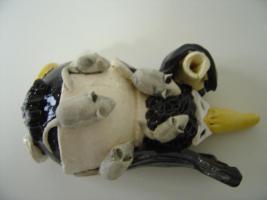 Foto 5 Tonfigur Keramikfigur Rabe Laborant Gartendeko Geschenk