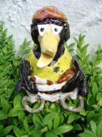 Tonfigur Keramikfigur Rabe Radfahrer Gartendeko Geschenk