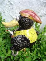 Foto 2 Tonfigur Keramikfigur Rabe Radfahrer Gartendeko Geschenk